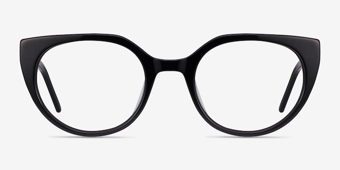 Rhyme Black Acetate Eyeglass Frames from EyeBuyDirect, Front View