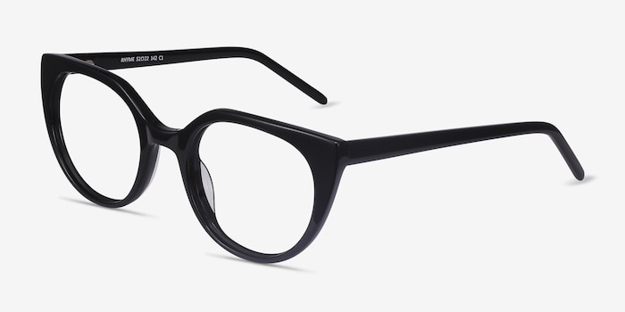 Rhyme Black Acetate Eyeglass Frames from EyeBuyDirect, Angle View