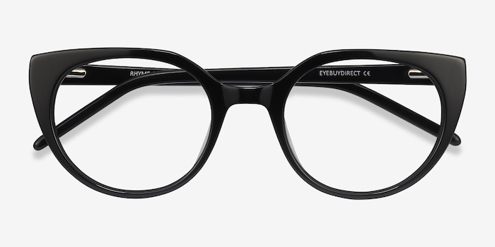 Rhyme Black Acetate Eyeglass Frames from EyeBuyDirect, Closed View