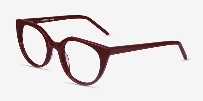 Rhyme Burgundy Acetate Eyeglass Frames from EyeBuyDirect, Angle View