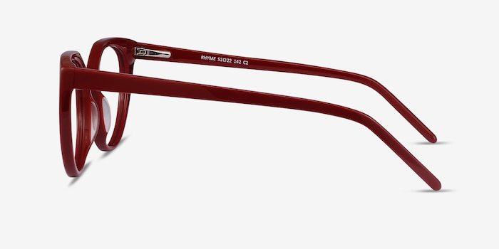 Rhyme Burgundy Acetate Eyeglass Frames from EyeBuyDirect, Side View