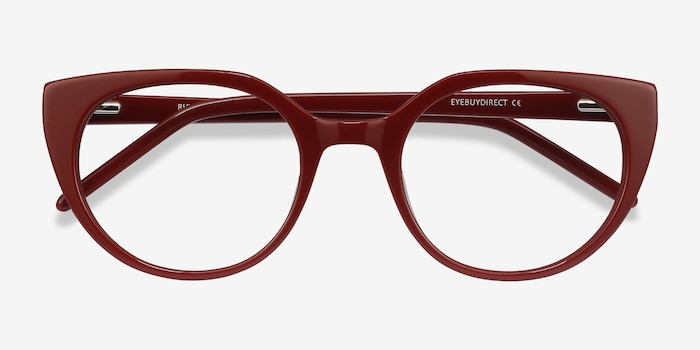 Rhyme Burgundy Acetate Eyeglass Frames from EyeBuyDirect, Closed View