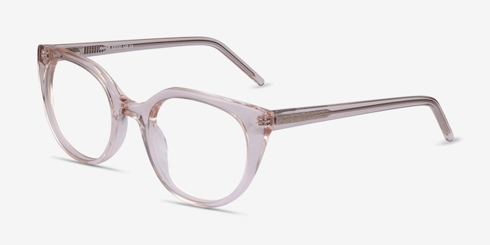 Rhyme Clear brown Acetate Eyeglass Frames from EyeBuyDirect, Angle View