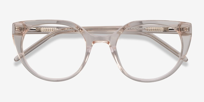 Rhyme Clear brown Acetate Eyeglass Frames from EyeBuyDirect, Closed View