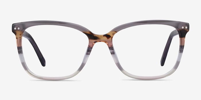 North Gray Striped Acetate Eyeglass Frames from EyeBuyDirect, Front View