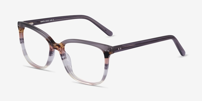 North Gray Striped Acetate Eyeglass Frames from EyeBuyDirect, Angle View