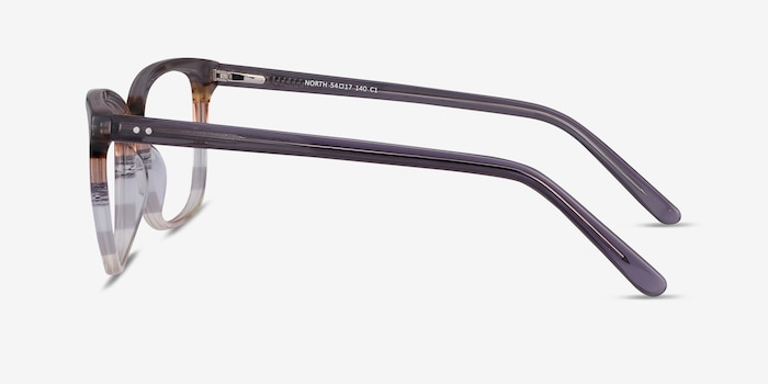 North Gray Striped Acetate Eyeglass Frames from EyeBuyDirect, Side View