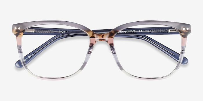 North Gray Striped Acetate Eyeglass Frames from EyeBuyDirect, Closed View