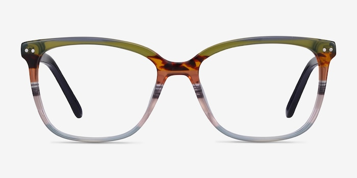 North Green Striped Acetate Eyeglass Frames from EyeBuyDirect, Front View