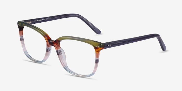 North Green Striped Acetate Eyeglass Frames from EyeBuyDirect, Angle View