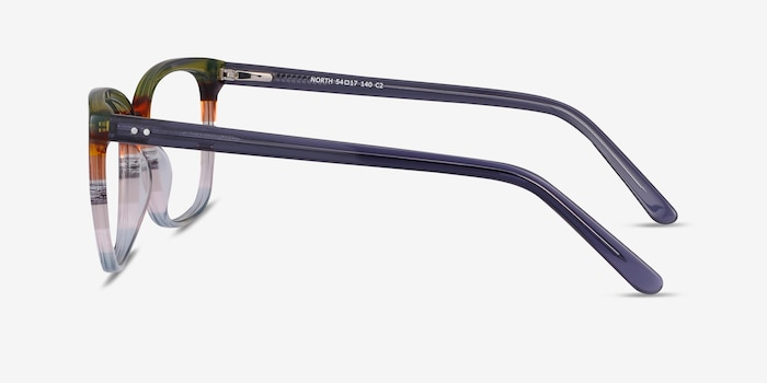 North Green Striped Acetate Eyeglass Frames from EyeBuyDirect, Side View