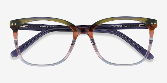 North Green Striped Acetate Eyeglass Frames from EyeBuyDirect, Closed View