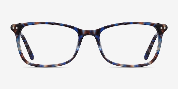 Alette Blue Floral Acetate Eyeglass Frames from EyeBuyDirect, Front View