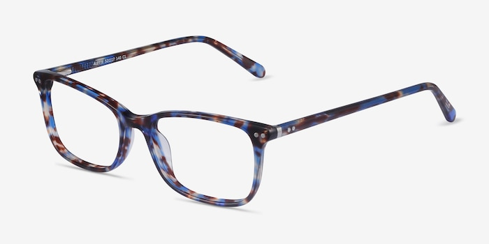 Alette Blue Floral Acetate Eyeglass Frames from EyeBuyDirect, Angle View