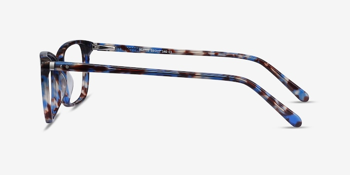 Alette Blue Floral Acetate Eyeglass Frames from EyeBuyDirect, Side View
