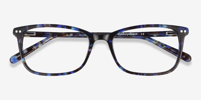 Alette Blue Floral Acetate Eyeglass Frames from EyeBuyDirect, Closed View