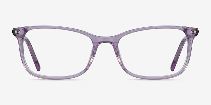 Alette Clear Purple Acetate Eyeglass Frames from EyeBuyDirect, Front View