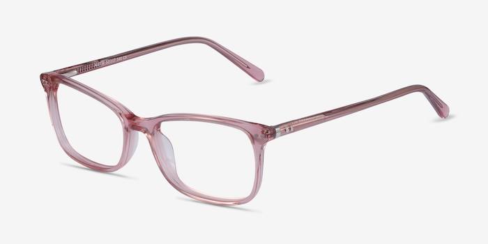 Alette Clear Pink Acetate Eyeglass Frames from EyeBuyDirect, Angle View
