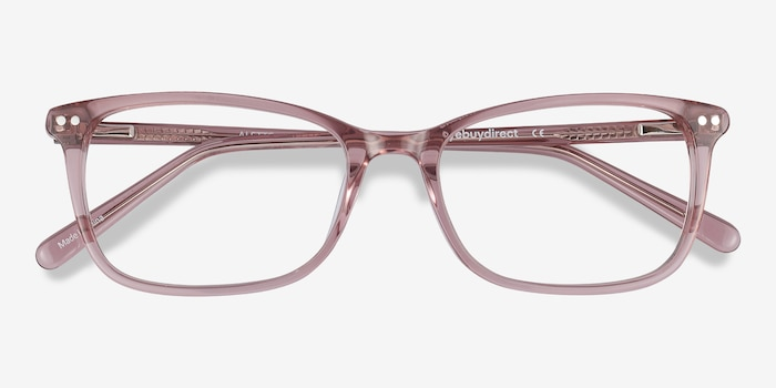 Alette Clear Pink Acetate Eyeglass Frames from EyeBuyDirect, Closed View