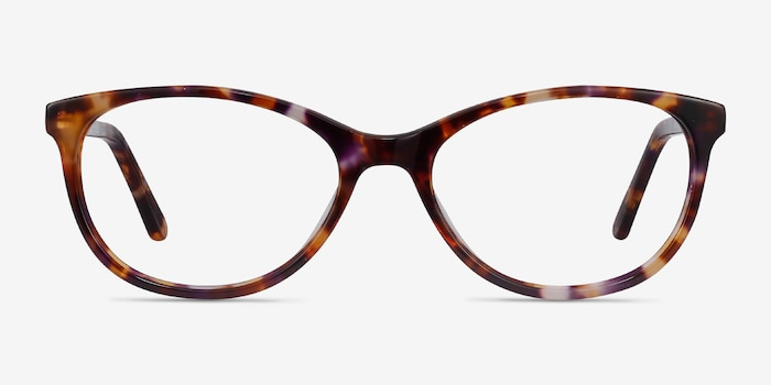 Depth Brown Floral Acetate Eyeglass Frames from EyeBuyDirect, Front View
