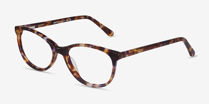 Depth Brown Floral Acetate Eyeglass Frames from EyeBuyDirect, Angle View