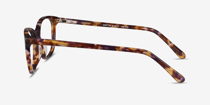 Depth Brown Floral Acetate Eyeglass Frames from EyeBuyDirect, Side View