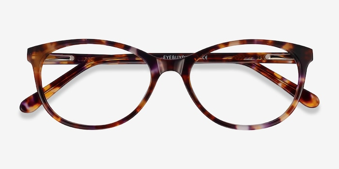 Depth Brown Floral Acetate Eyeglass Frames from EyeBuyDirect, Closed View