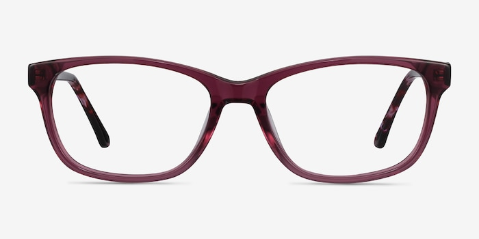 Ayla Purple Acetate Eyeglass Frames from EyeBuyDirect, Front View