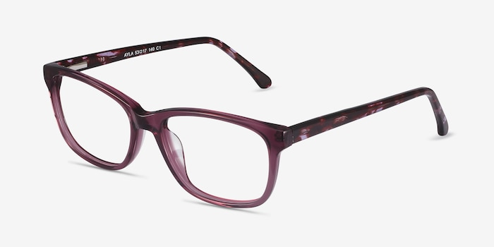 Ayla Purple Acetate Eyeglass Frames from EyeBuyDirect, Angle View