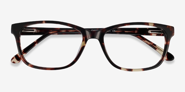 Ayla Tortoise Acetate Eyeglass Frames from EyeBuyDirect, Closed View