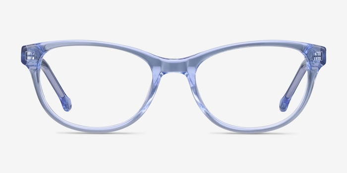 Thinker Clear Blue Acetate Eyeglass Frames from EyeBuyDirect, Front View
