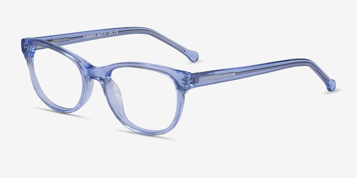 Thinker Clear Blue Acetate Eyeglass Frames from EyeBuyDirect, Angle View