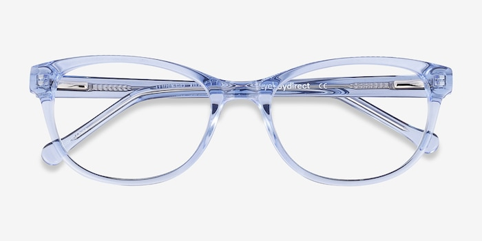 Thinker Clear Blue Acetate Eyeglass Frames from EyeBuyDirect, Closed View