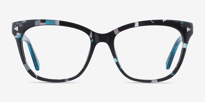 Petal Blue Floral Acetate Eyeglass Frames from EyeBuyDirect, Front View
