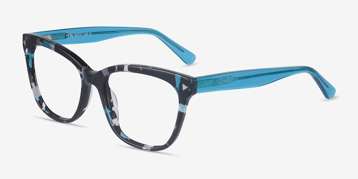 Petal Blue Floral Acetate Eyeglass Frames from EyeBuyDirect, Angle View
