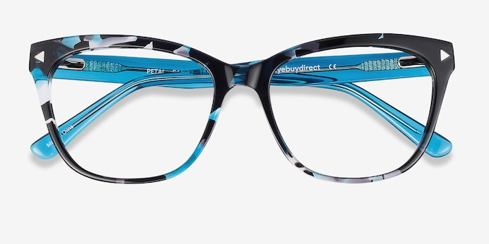 Petal Blue Floral Acetate Eyeglass Frames from EyeBuyDirect, Closed View
