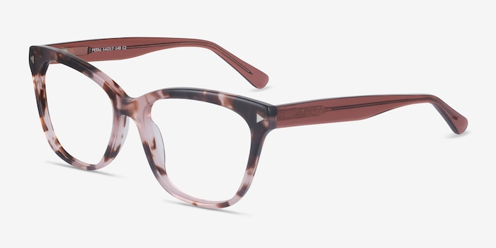 Petal Pink Tortoise Acetate Eyeglass Frames from EyeBuyDirect, Angle View