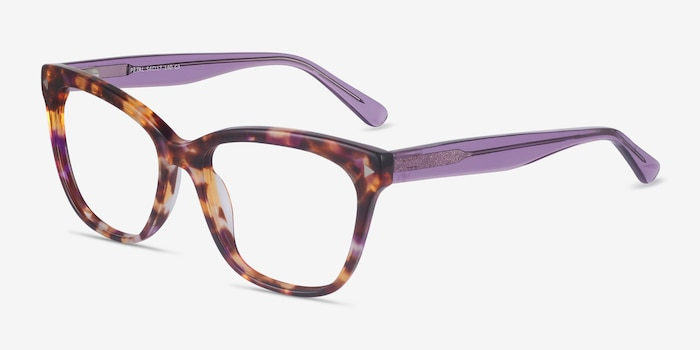 Petal Purple Tortoise Acetate Eyeglass Frames from EyeBuyDirect, Angle View