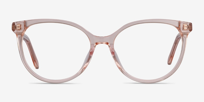 Nala Clear Pink Acetate Eyeglass Frames from EyeBuyDirect, Front View