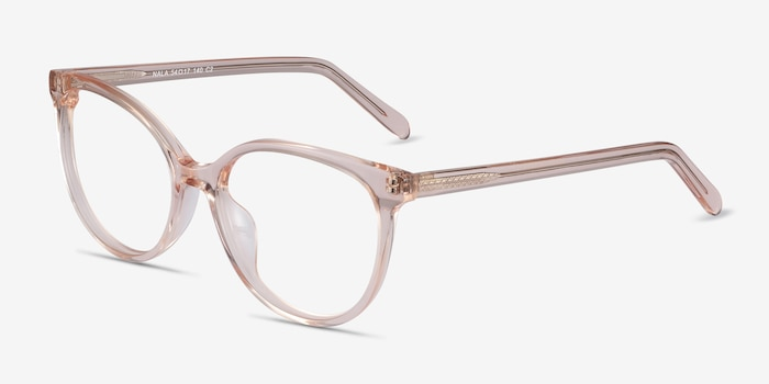 Nala Clear Pink Acetate Eyeglass Frames from EyeBuyDirect, Angle View