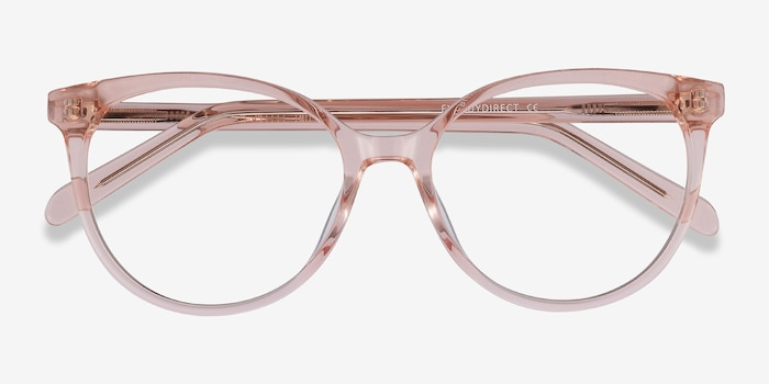 Nala Clear Pink Acetate Eyeglass Frames from EyeBuyDirect, Closed View