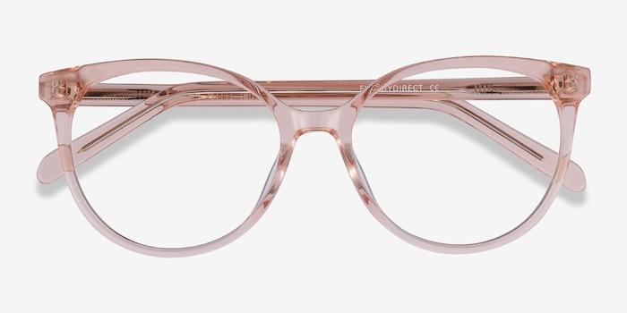 Nala Clear Pink Acétate Montures de Lunettes d'EyeBuyDirect, Vue Rapprochée