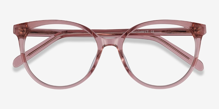 Nala Clear Purple Acetate Eyeglass Frames from EyeBuyDirect, Closed View
