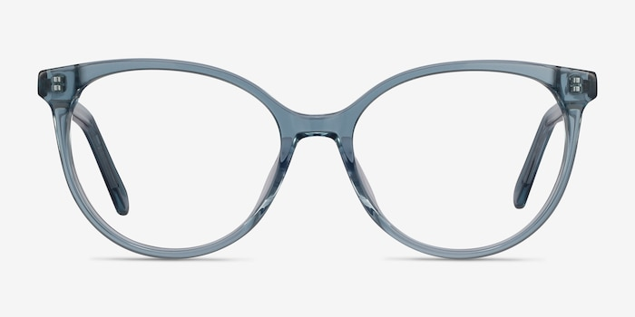 Nala Clear Blue Acetate Eyeglass Frames from EyeBuyDirect, Front View