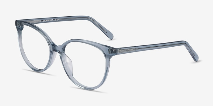Nala Clear Blue Acetate Eyeglass Frames from EyeBuyDirect, Angle View