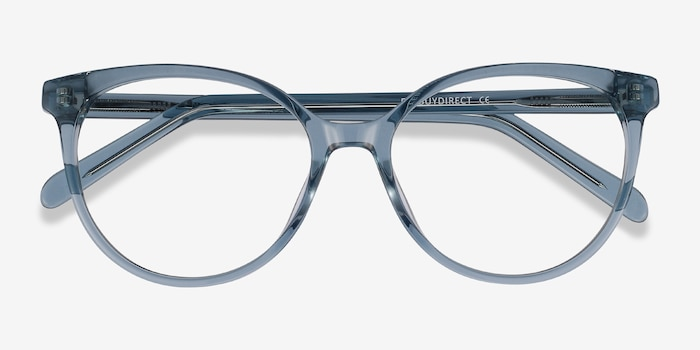 Nala Clear Blue Acetate Eyeglass Frames from EyeBuyDirect, Closed View