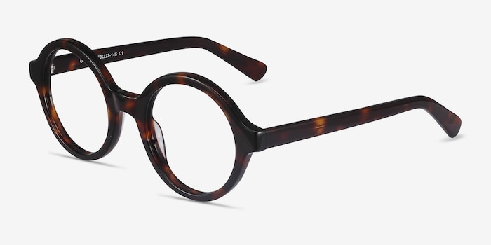 Groove Tortoise Acetate Eyeglass Frames from EyeBuyDirect, Angle View