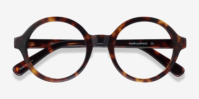 Groove Tortoise Acetate Eyeglass Frames from EyeBuyDirect, Closed View