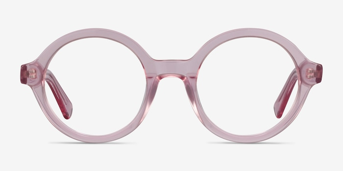 Groove Pink Acetate Eyeglass Frames from EyeBuyDirect, Front View