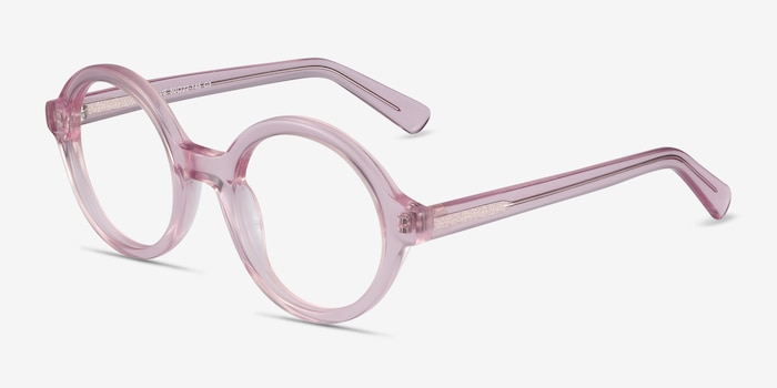 Groove Pink Acetate Eyeglass Frames from EyeBuyDirect, Angle View